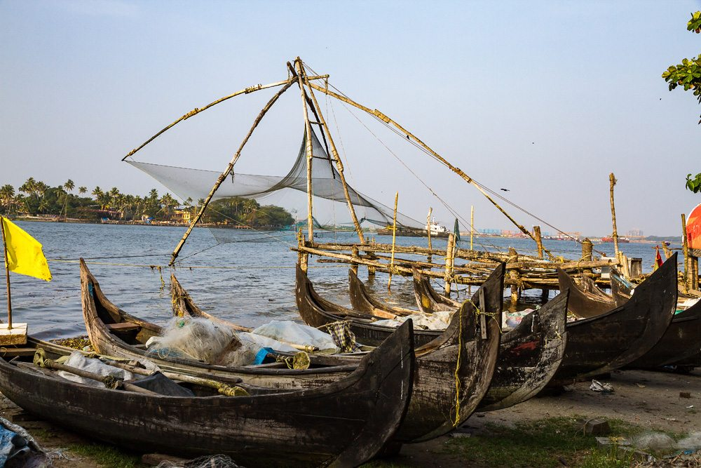 Chinese fishing nets in Cochin, Kerala, India