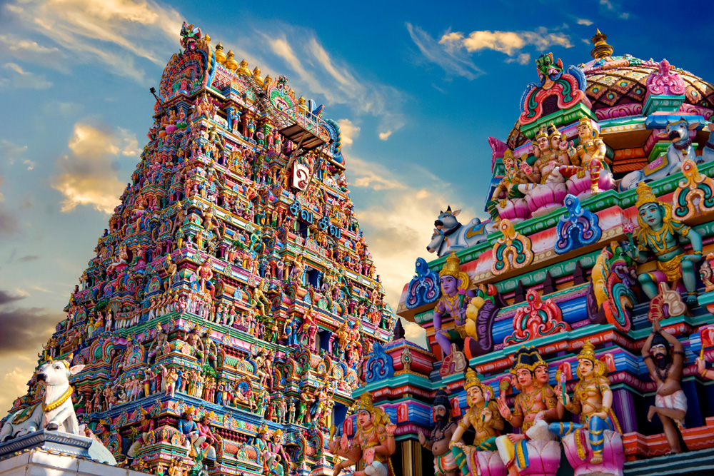 Colourful gopura in the Hindu Kapaleeshwarar Temple, Chennai, Tamil Nadu, India