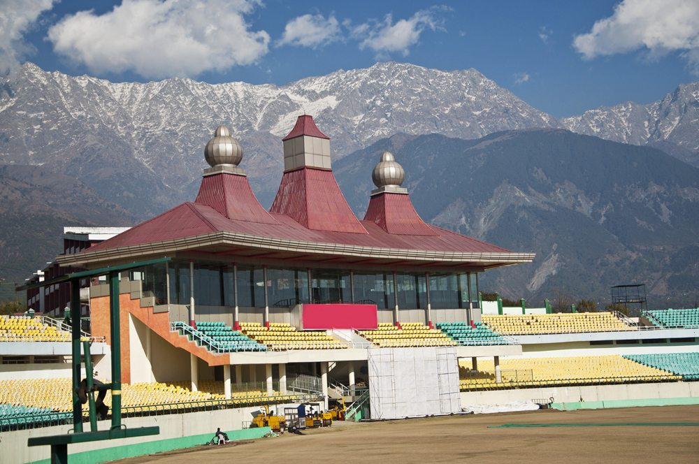 Dharmashala Cricket Stadium with gorgeous mountain backdrop, Dharmashala, India