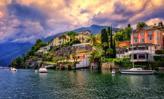 Dramatic sunset over Ascona, a popular resort town on Lake Maggiore, Switzerland
