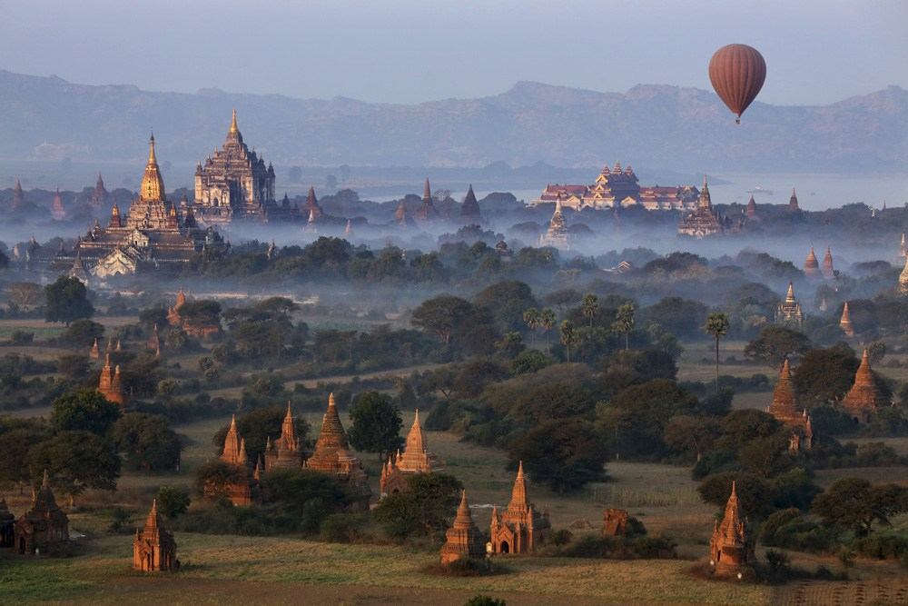Early morning aerial view of temples and Irrawaddy River in Bagan, Myanmar