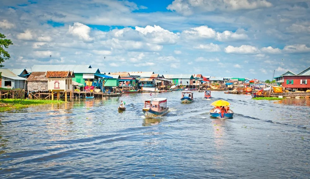 Floating village on the waters of Tonle Sap Lake, Cambodia