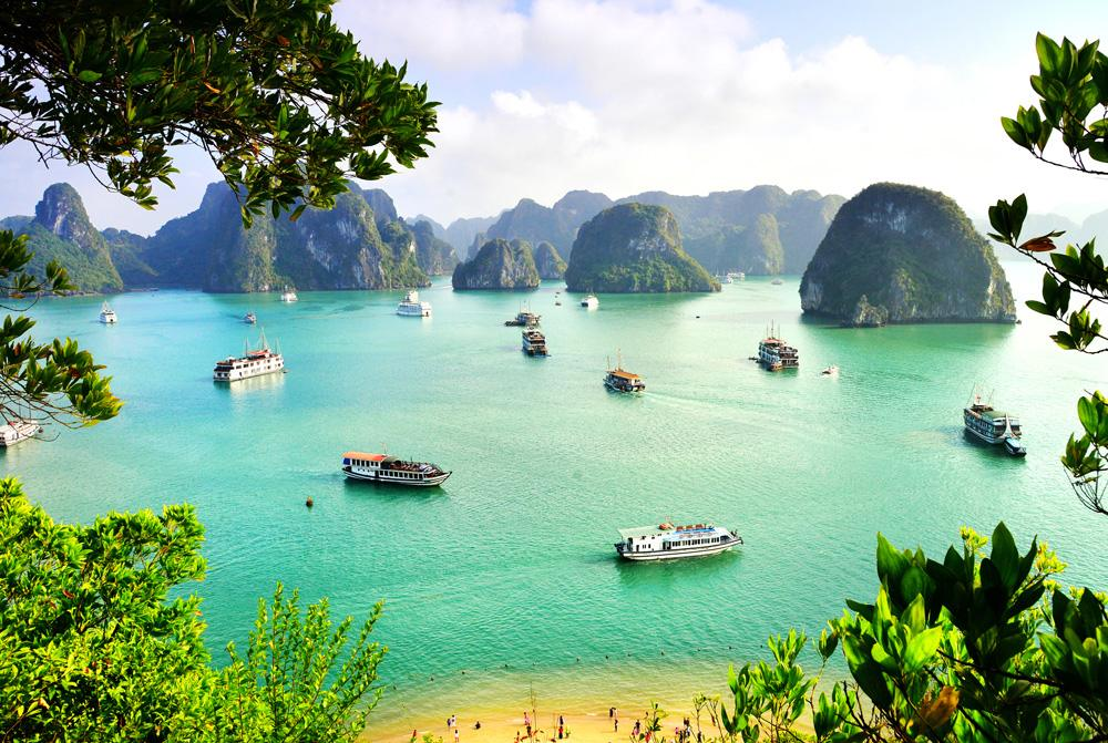 Karst landforms in Halong Bay, Vietnam