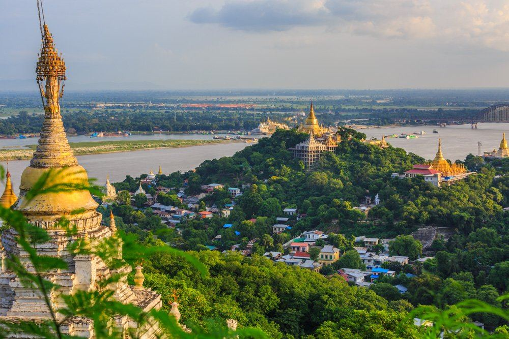 Mandalay city with golden temples and Irrawaddy River, Myanmar