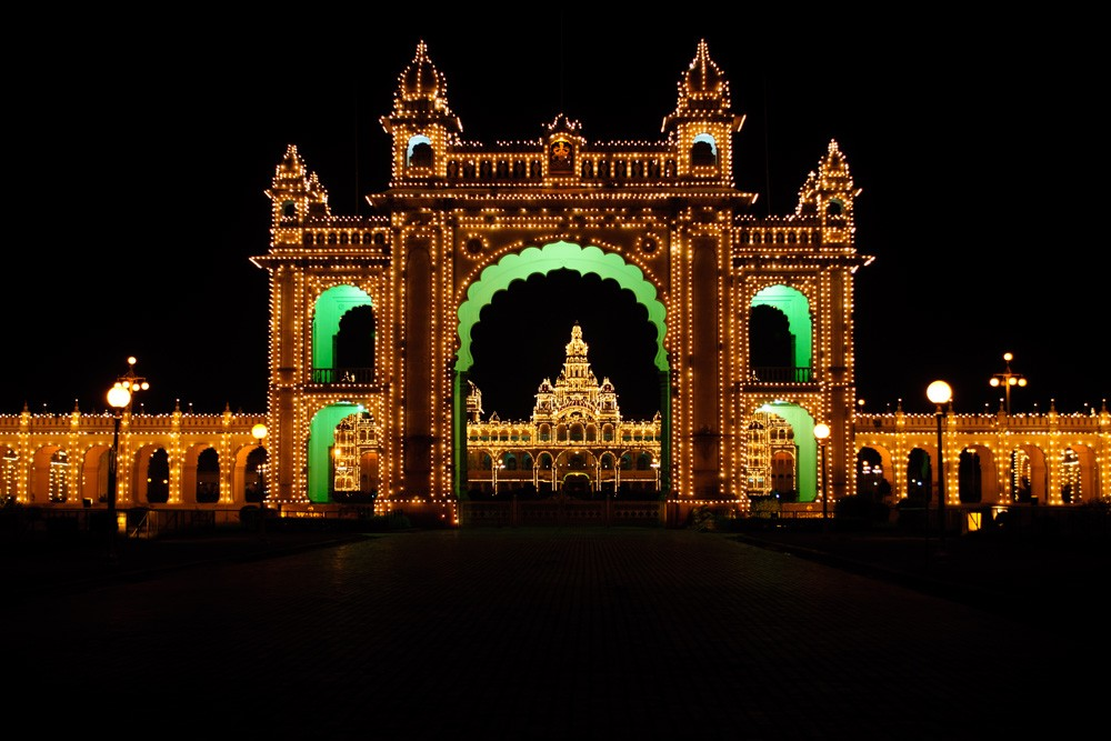 Mysore Palace lit up at night, Mysore, India