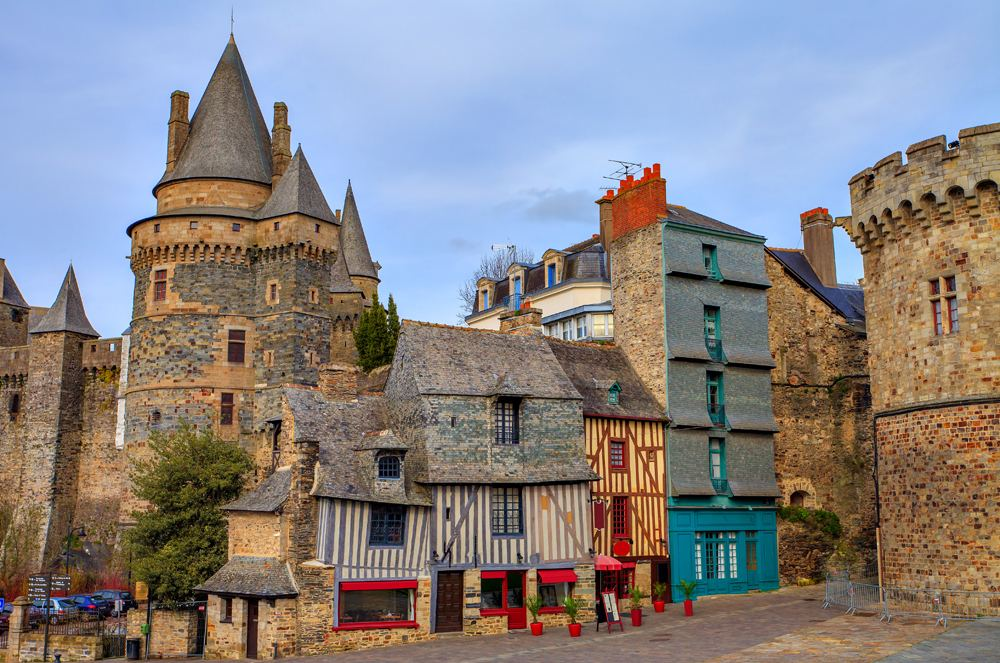 Old timber-framed houses and castle in the town of Vitre, Brittany, France