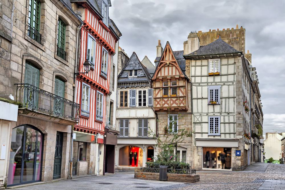 Old traditional houses in the historic part of Quimper, Brittany, France