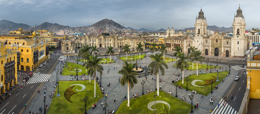 Plaza Mayor or Plaza de Armas (main square) in Lima, Peru