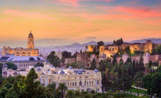 Skyline of Malaga's old town, Spain.