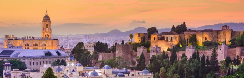Skyline of Malaga's old town, Spain.
