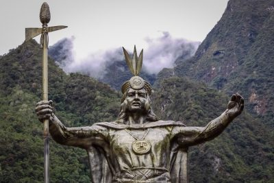 Statue of Pachacuti, Inca leader, in Aguas Calientes, Peru