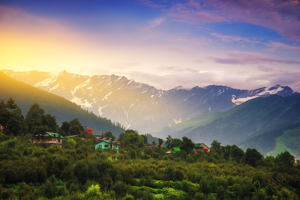Sunrise landscape view in Manali, Himachal Pradesh, India