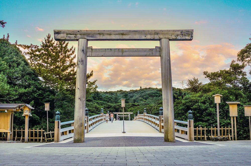 Surrounds of the Ise Grand Shrine at sunset, Ise, Japan