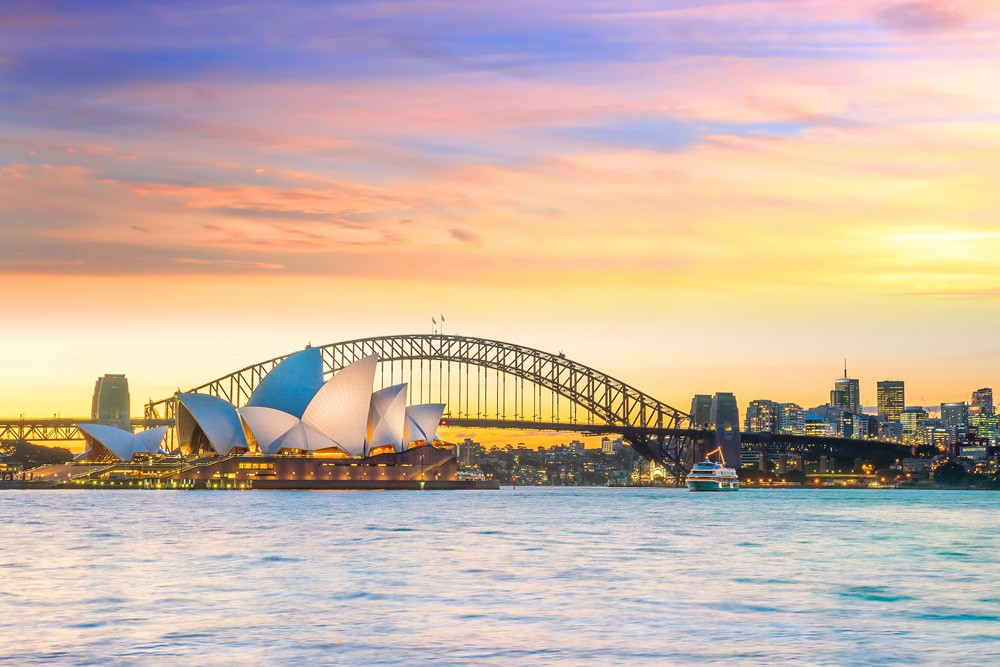 Sydney Opera House and Sydney Bridge at twilight, Australia