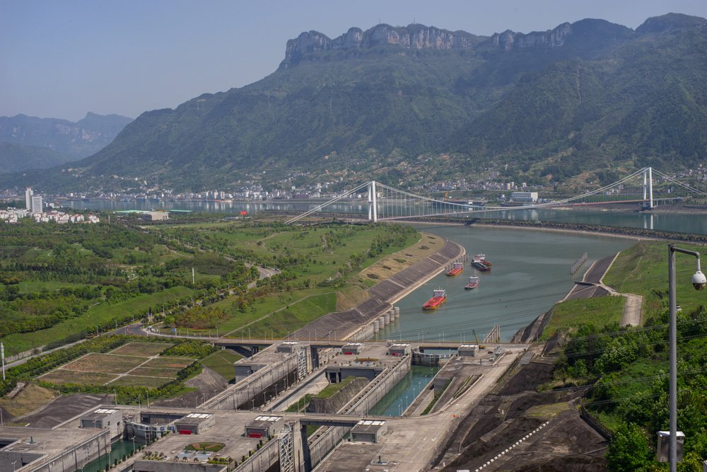 Three Gorges Dam in spring, Yangtze River, China