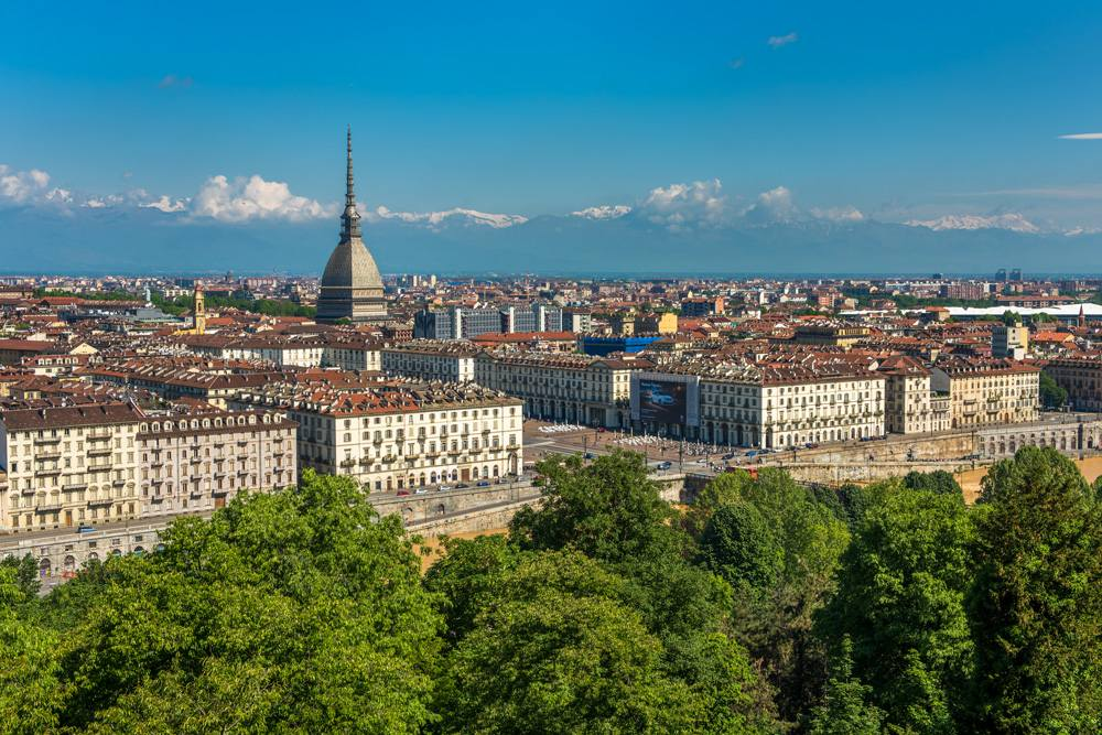 Turin skyline with Alps in background, Italy
