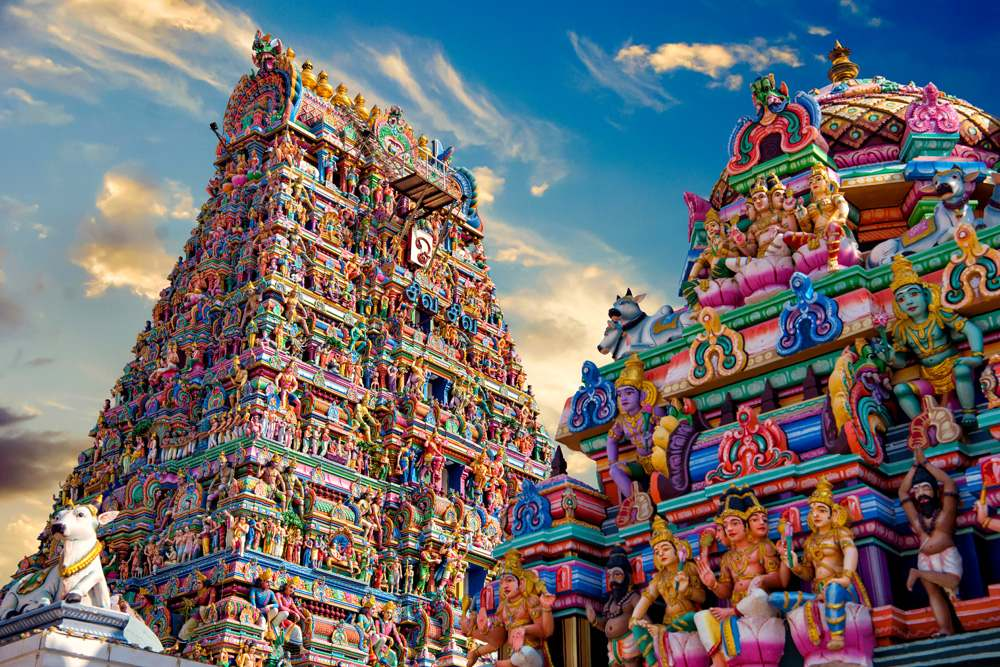 View of colourful gopura in the Hindu Kapaleeshwarar Temple, Chennai, Tamil Nadu, India
