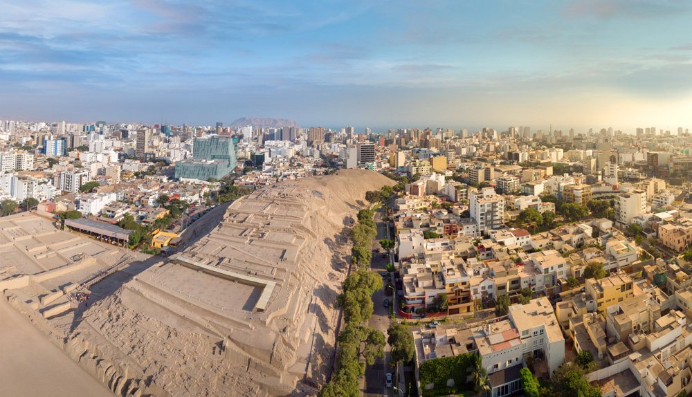 Aerial view of Huaca Pucllana archeological complex and Miraflores District, Lima, Peru