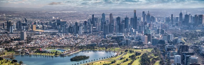 Aerial view of Melbourne with Albert Park and skyscrapers, Victoria, Australia