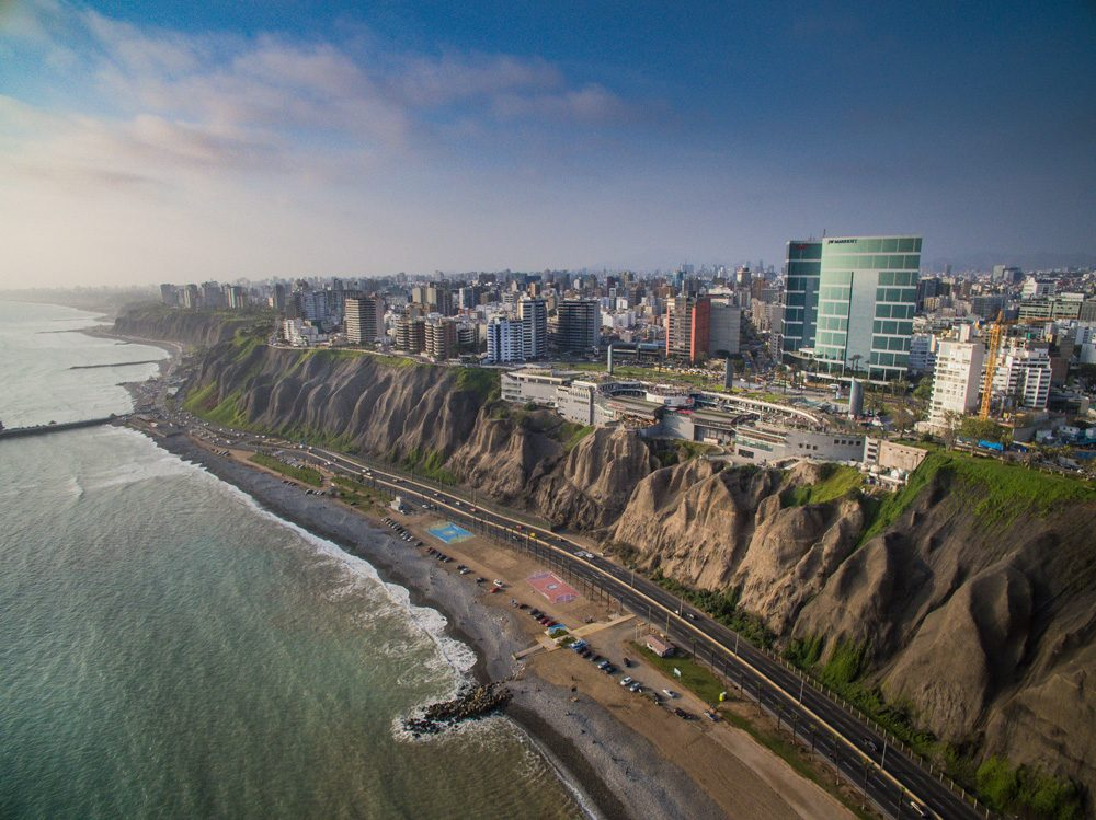 Aerial view of Miraflores District and Larcomar, Lima, Peru