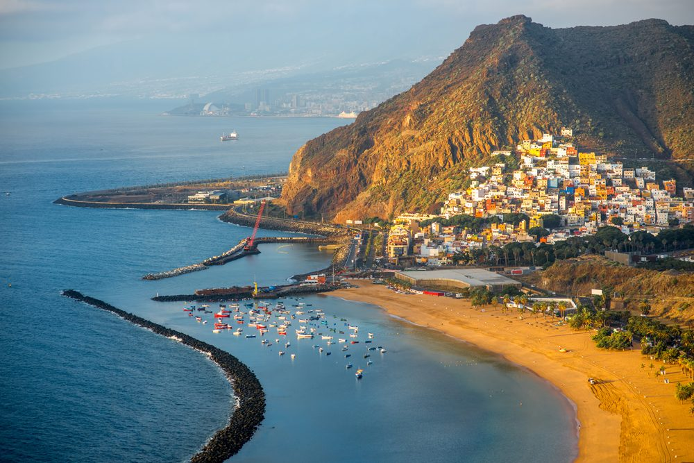 Aerial view of Teresitas Beach near Santa Cruz de Tenerife, Canary islands, Spain