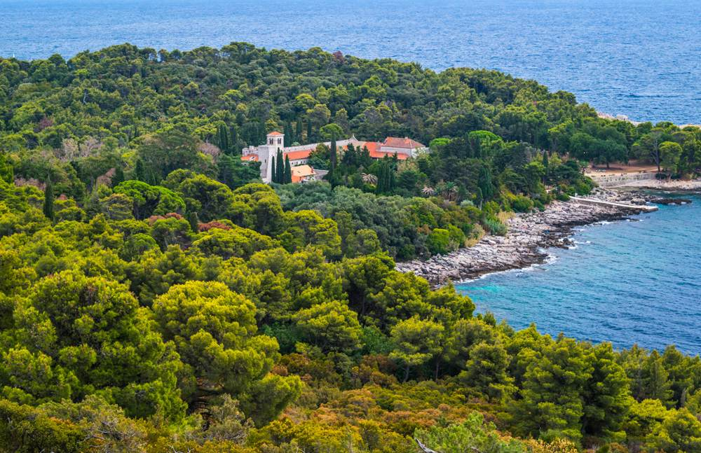 Aerial view of the Island of Lokrum, near Dubrovnik, Croatia