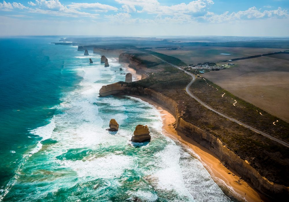 Aerial view of the Twelve Apostles along the Great Ocean Road in Victoria, Australia