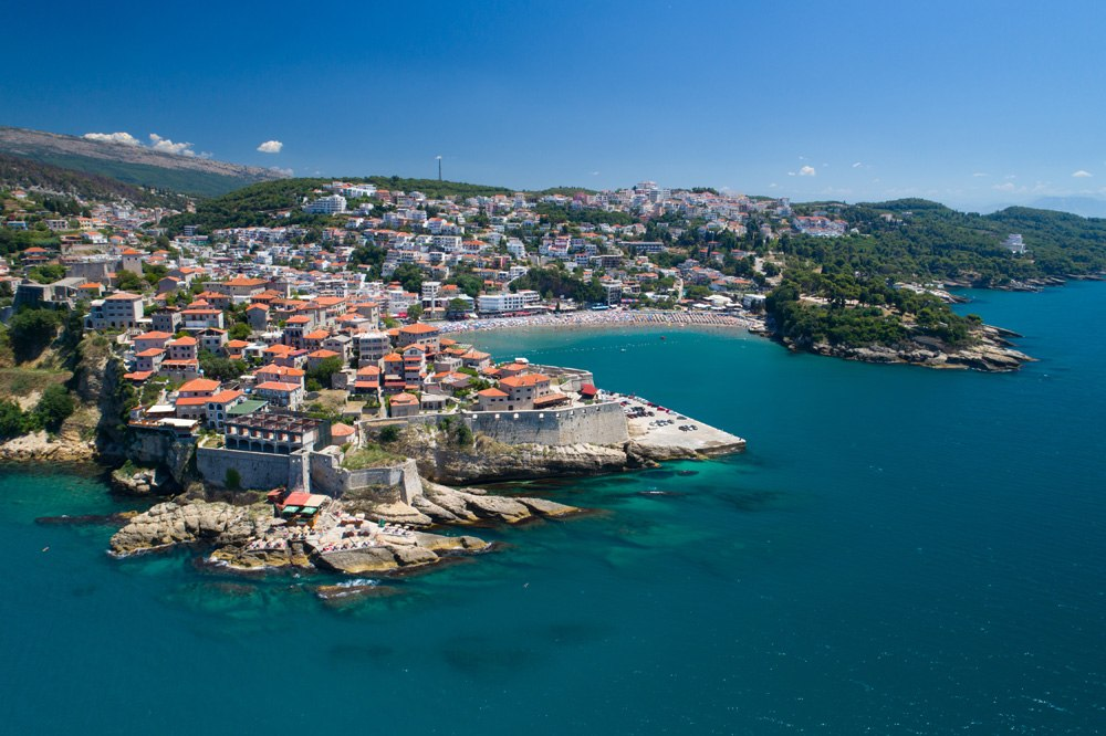 Aerial view of the old city of Ulcinj, Montenegro