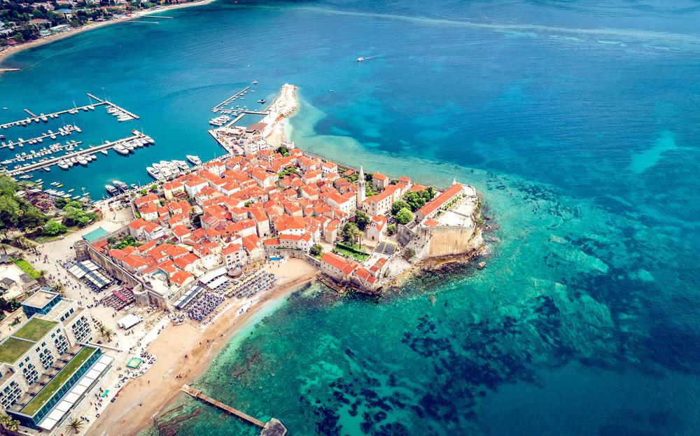 Aerial view of the old town in Budva on a beautiful summer day, Montenegro
