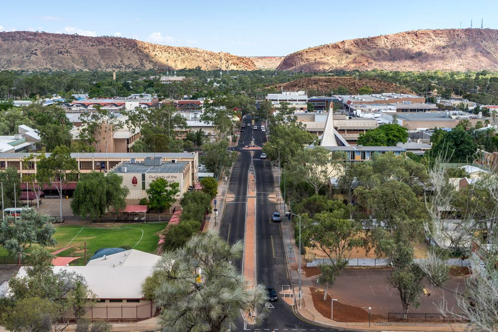 Aerial view of the town of Alice Springs, Northern Territory, Australia
