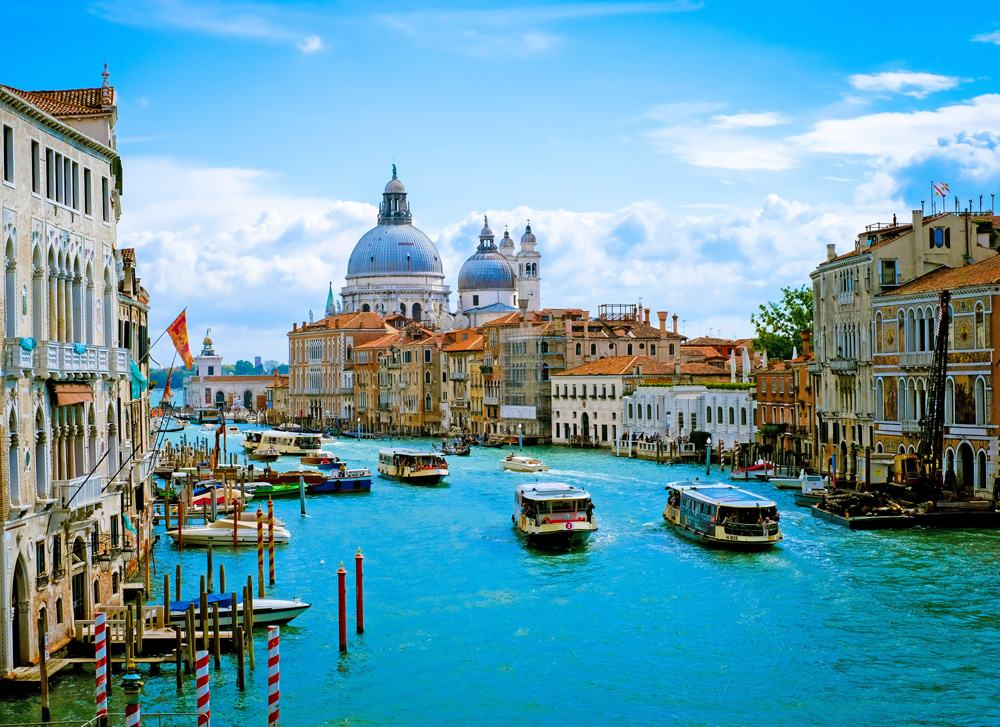 Beautiful view of Grand Canal and Basilica Santa Maria della Salute in Venice, Italy