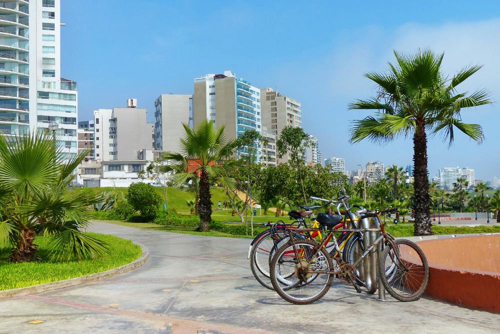 Bicycles for rent in Miraflores District, Lima, Peru