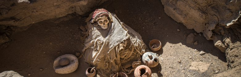 Chauchilla Cemetery with pre-Incan mummies in Nazca desert, Peru