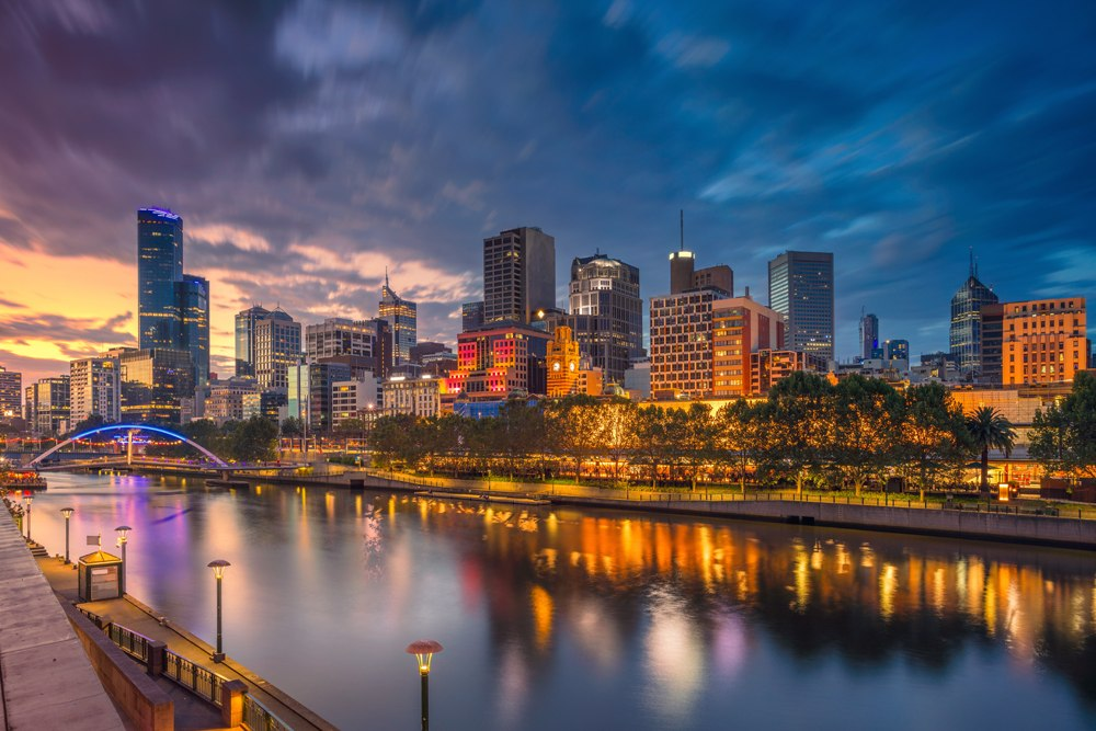 City of Melbourne and Yarra River during sunset, Australia