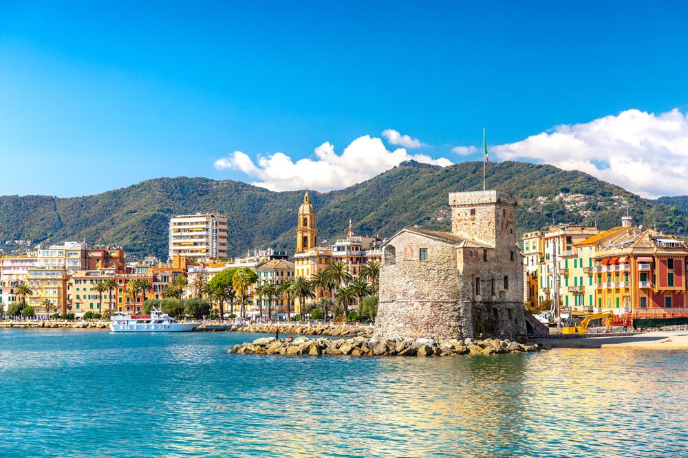 Coastline and picturesque seaside village of Rapallo, Italy