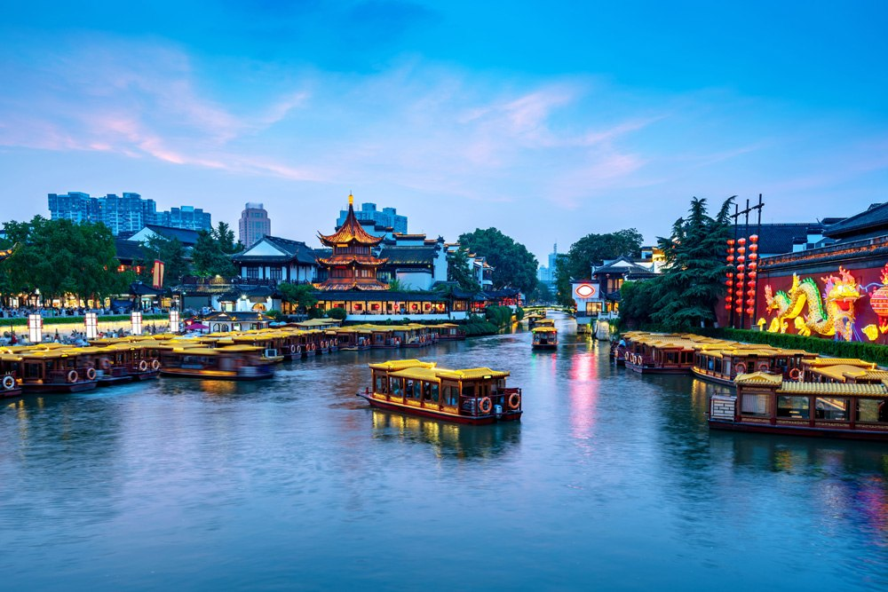 Confucius Temple scenic region and Qinhuai River, Nanjing, China