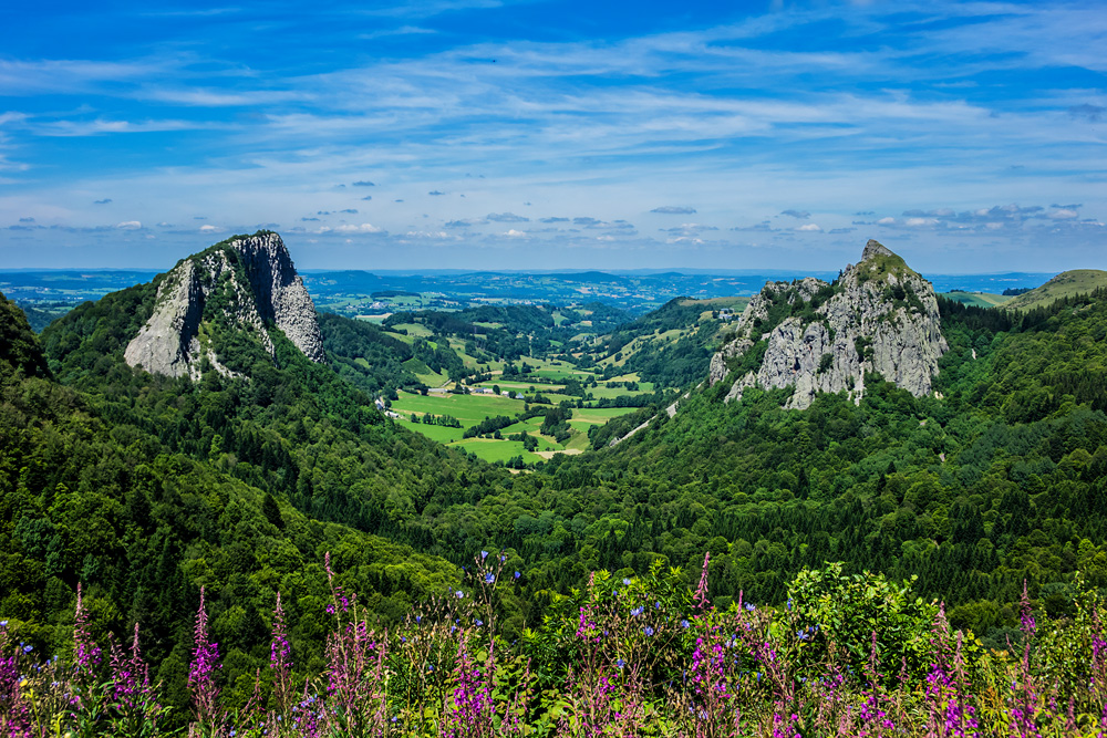 Famous Auvergne rocks, Tuiliere and Sanadoire in Volcans d'Auvergne regional natural park, Auvergne, France
