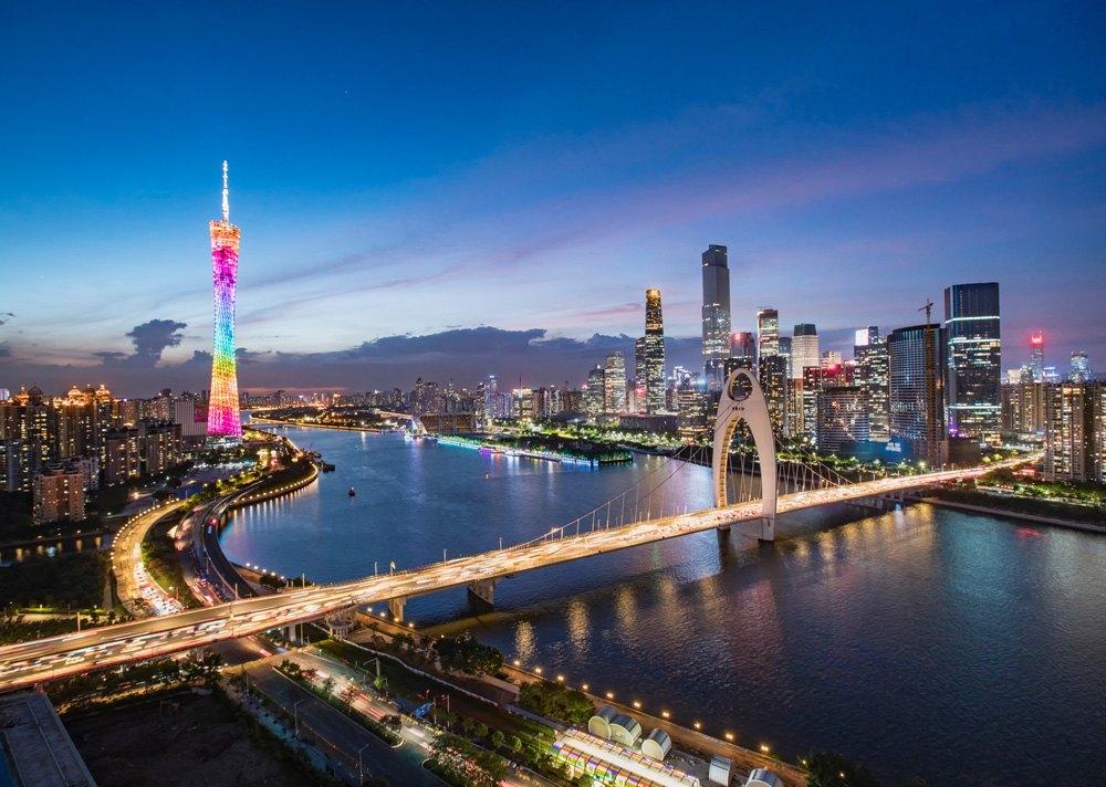 Guangzhou Tower and Liede Bridge at night, Guangzhou, China