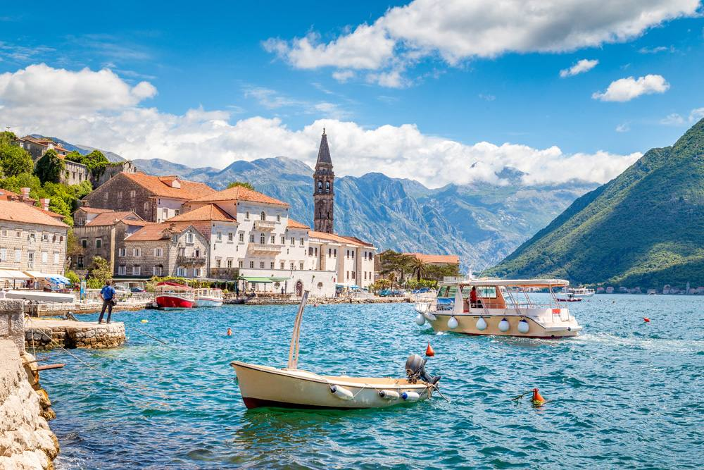 Historic town of Perast on a beautiful summer day, Montenegro