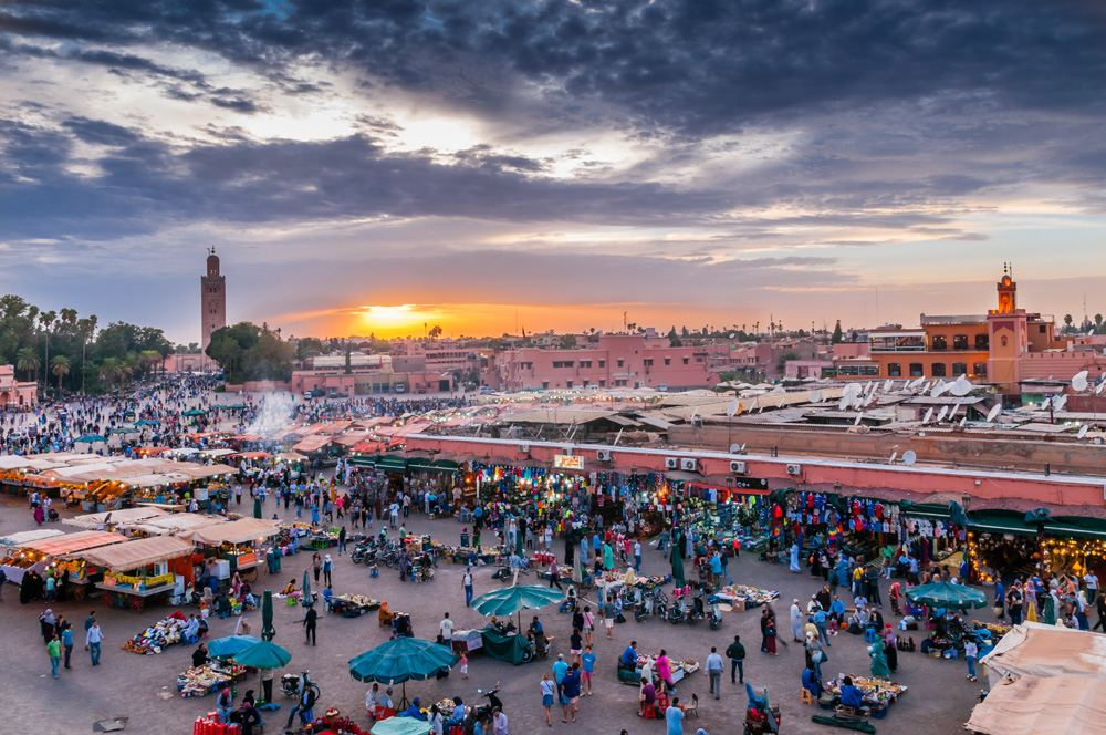 Jemaa el-Fnaa in the evening at sunset, Marrakesh, Morocco