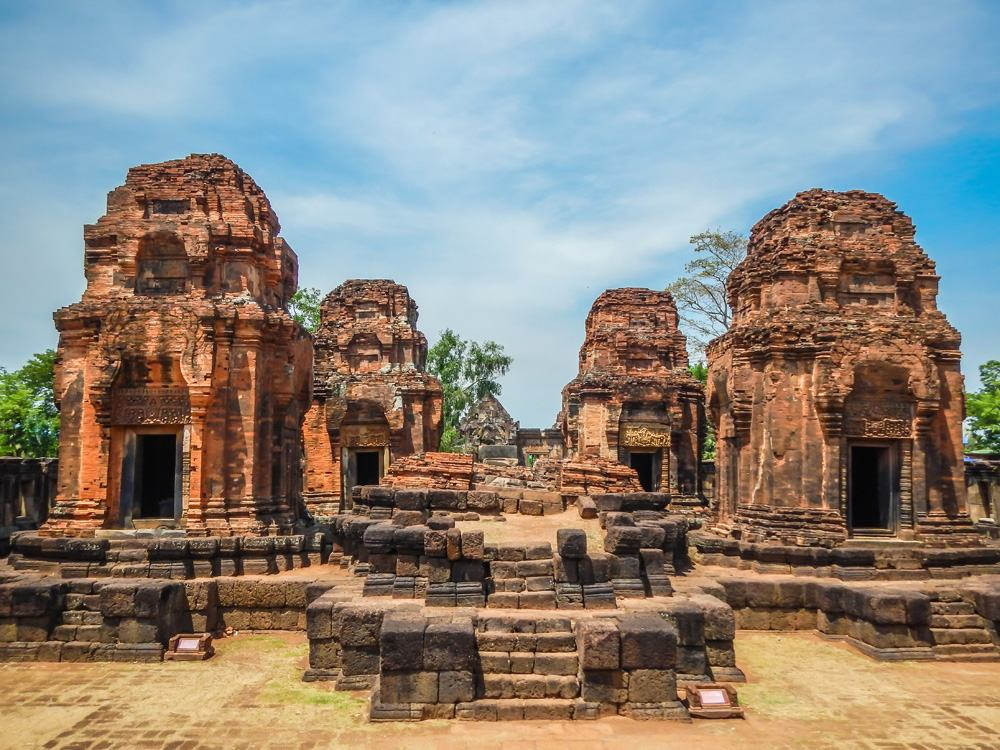 Khmer temple ruins of Prasat Muang Tam in the province of Buri Ram in Isan, Thailand