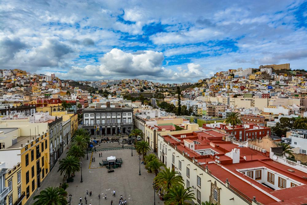 Las Palmas de Gran Canaria seen from Cathedral of Santa Ana in Vegueta, Grand Canary Islands, Spain