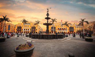 Lima main square (Plaza Mayor or Plaza de Armas) and Lima Cathedral, Lima, Peru