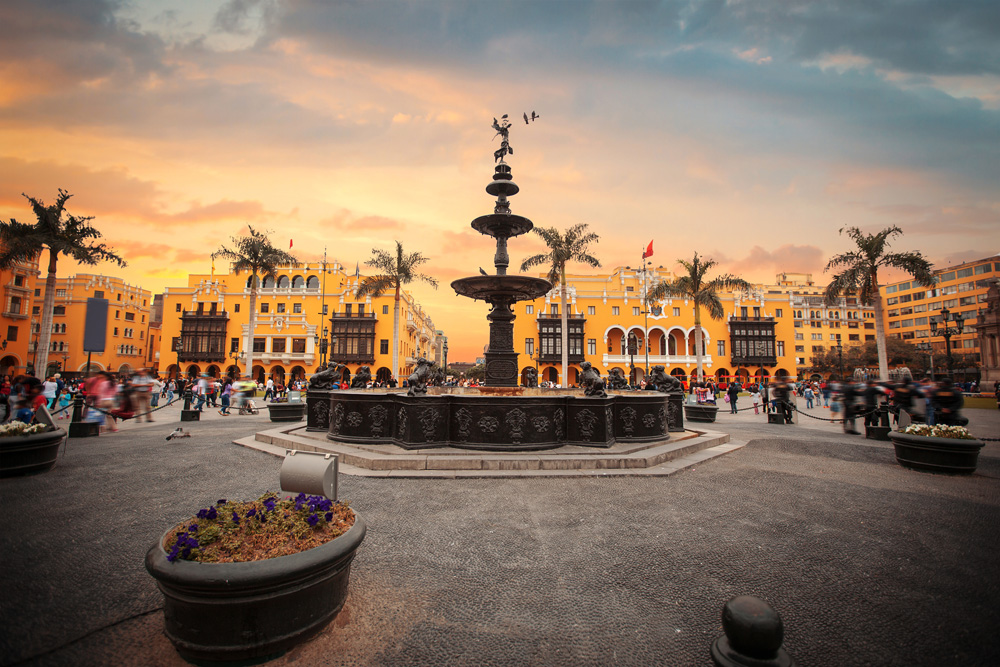 Lima main square (Plaza Mayor or Plaza de Armas) and Lima Cathedral, Lima, Peru