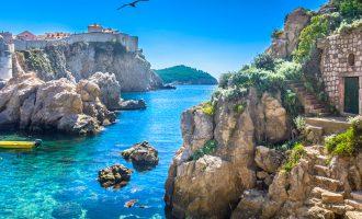 Marble hidden bay in old city centre of Dubrovnik, Croatia