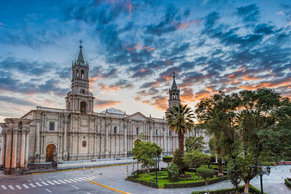 Morning sunrise at Plaza De Armas and Cathedral, Arequipa, Peru