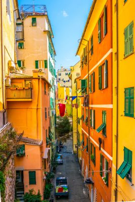 Narrow street in the historical centre of Genoa, Italy