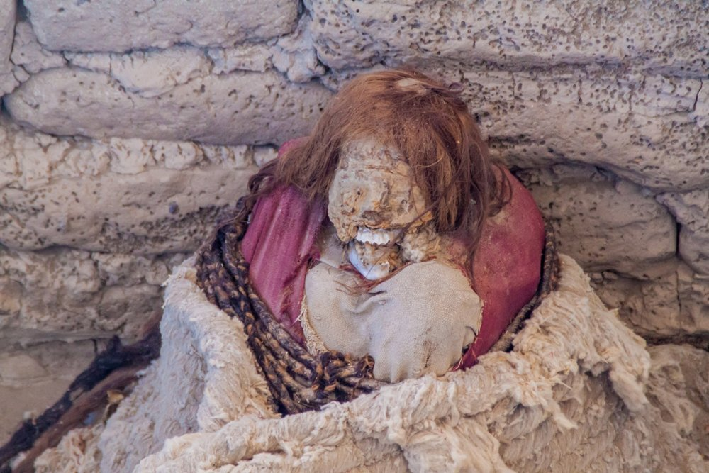 Preserved mummy in a tomb at Chauchilla Cemetery in Nazca, Peru