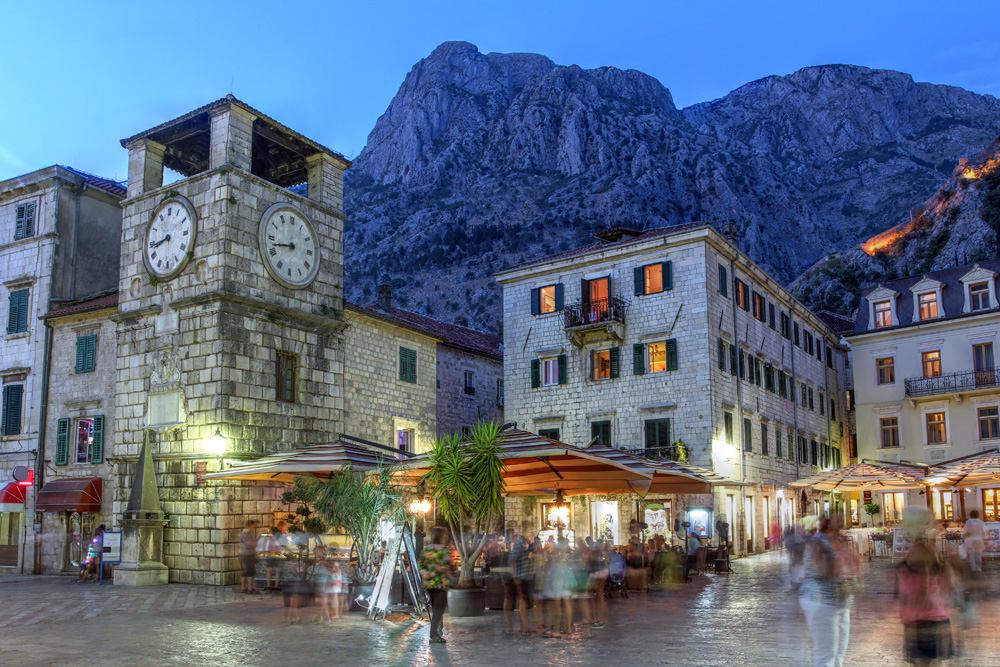 Scene in the medieval town of Kotor at twilight, Montenegro