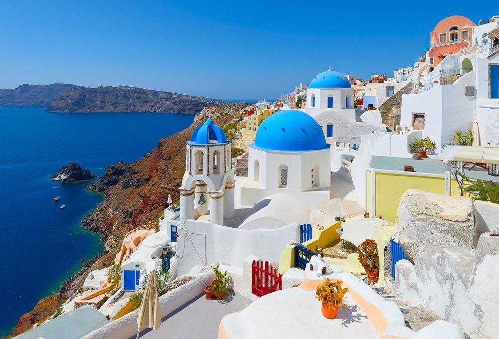 Town of Oia on Santorini Island, Greece